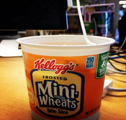 Groot and Joker-Batman watch me eat Frosted Mini-Wheats.