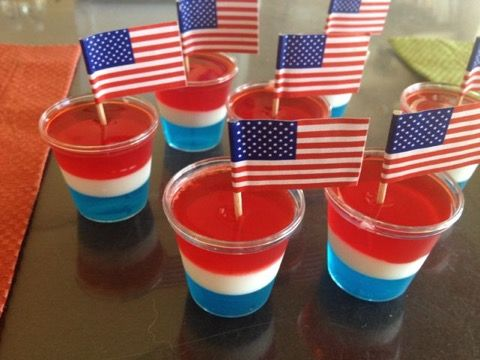 Red, white, and blue Jello shot.