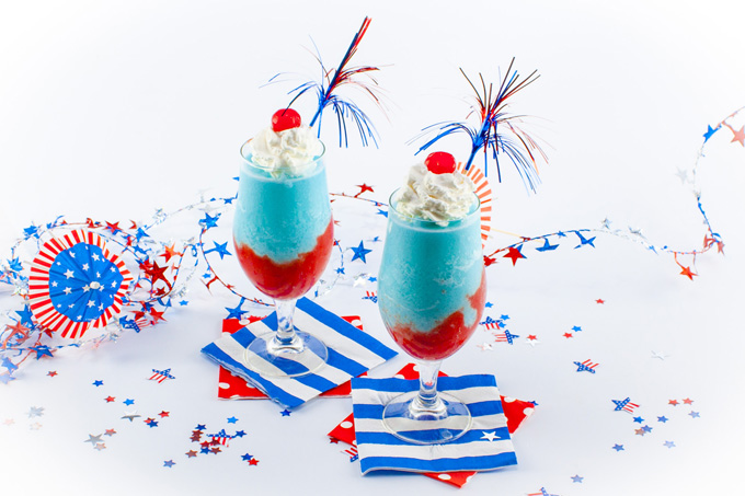 Red, white, and blue Pina Colada.