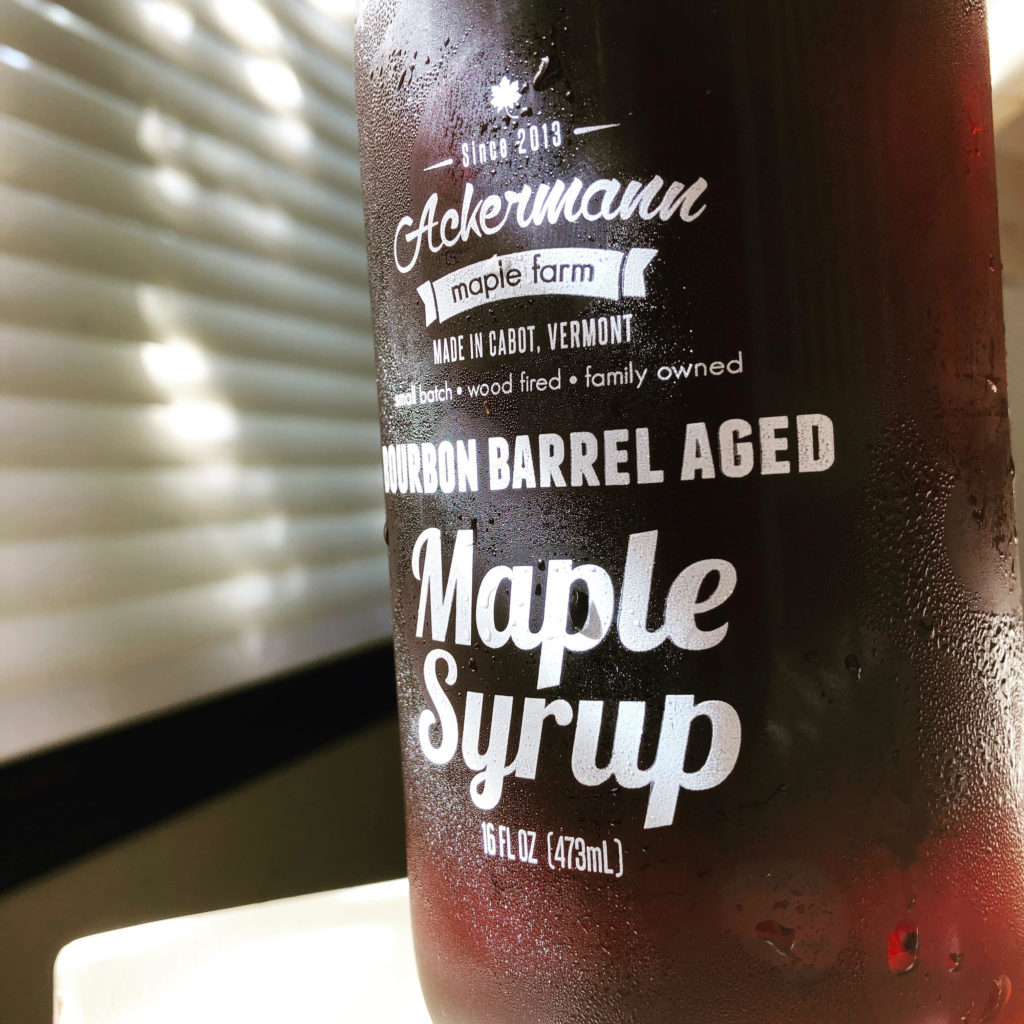 Ackermann's bourbon barrel-aged maple syrup.